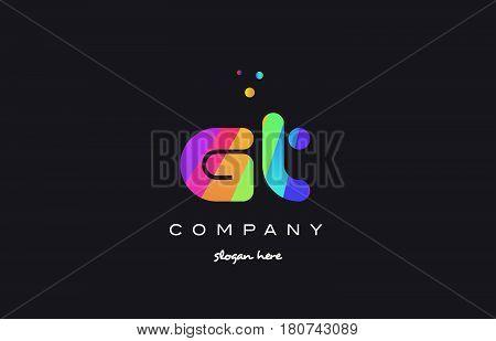 Gv G V  Colored Rainbow Creative Colors Alphabet Letter Logo Icon