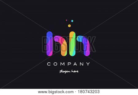 Hh H H  Colored Rainbow Creative Colors Alphabet Letter Logo Icon