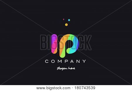 Ip I P  Colored Rainbow Creative Colors Alphabet Letter Logo Icon