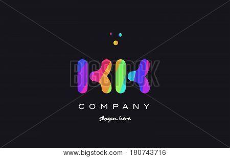 Kk K K  Colored Rainbow Creative Colors Alphabet Letter Logo Icon