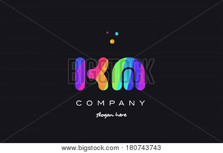 Km K M  Colored Rainbow Creative Colors Alphabet Letter Logo Icon