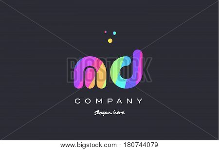 Md M D  Colored Rainbow Creative Colors Alphabet Letter Logo Icon