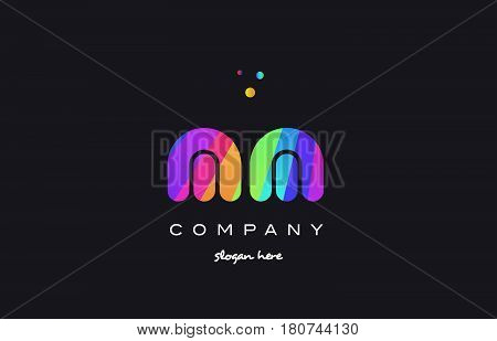 Mm M M  Colored Rainbow Creative Colors Alphabet Letter Logo Icon