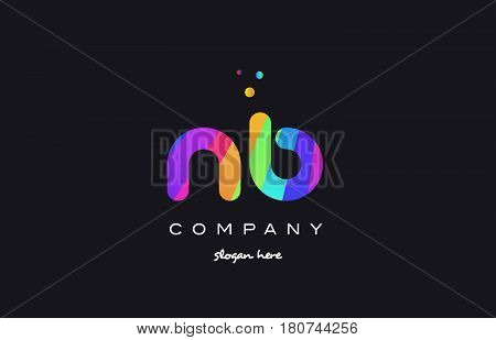 Nb N B  Colored Rainbow Creative Colors Alphabet Letter Logo Icon