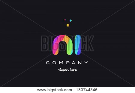 Ni N I  Colored Rainbow Creative Colors Alphabet Letter Logo Icon