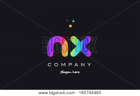 Nx N X  Colored Rainbow Creative Colors Alphabet Letter Logo Icon
