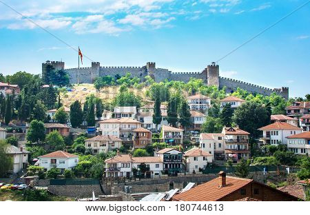 Ohrid, Rep. Of Macedonia - August 6, 2016: The Walls Of Samuel Fortress Above Houses Of Ohrid Old To