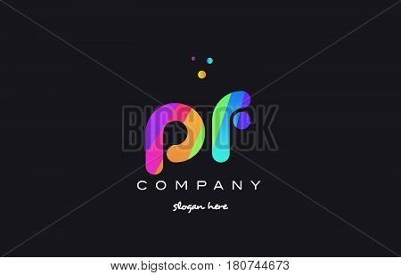 Pf P F  Colored Rainbow Creative Colors Alphabet Letter Logo Icon