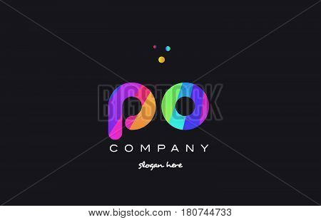 Po P O  Colored Rainbow Creative Colors Alphabet Letter Logo Icon