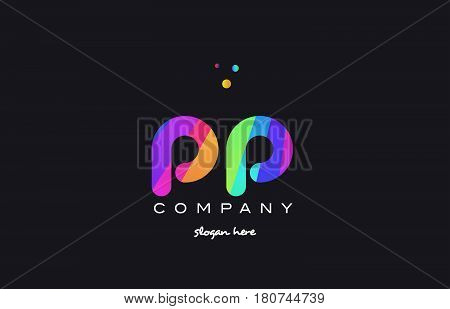 Pp P  Colored Rainbow Creative Colors Alphabet Letter Logo Icon