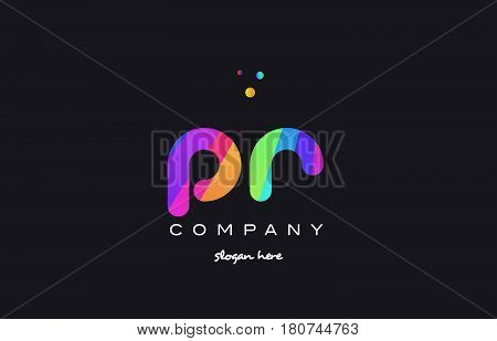 Pr P R  Colored Rainbow Creative Colors Alphabet Letter Logo Icon
