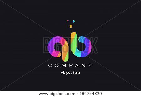 Qb Q B  Colored Rainbow Creative Colors Alphabet Letter Logo Icon