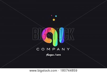 Qi Q I  Colored Rainbow Creative Colors Alphabet Letter Logo Icon