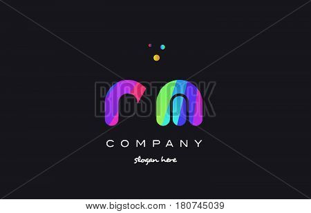 Rl R L  Colored Rainbow Creative Colors Alphabet Letter Logo Icon