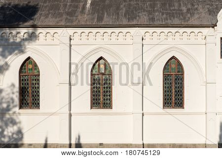 Windows of the Dutch Reformed Church in Nieu-Bethesda an historic village in the Eastern Cape Province. The church was built in 1905