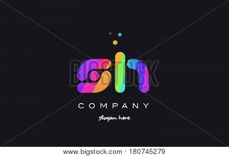 Sh S H  Colored Rainbow Creative Colors Alphabet Letter Logo Icon
