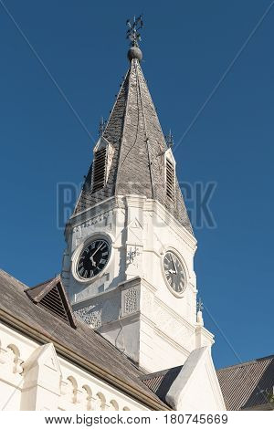 Clock tower of the Dutch Reformed Church in Nieu-Bethesda an historic village in the Eastern Cape Province. The church was built in 1905