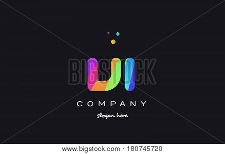 Vi V I  Colored Rainbow Creative Colors Alphabet Letter Logo Icon