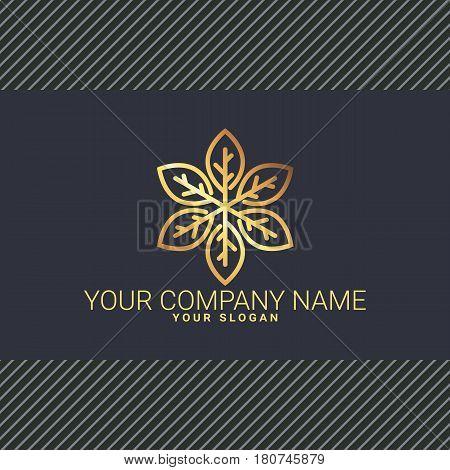 Gold logotype with stylized leaves. Vector illustration. Company logotype.