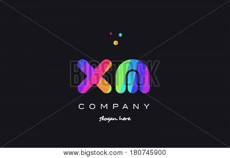 Xm X M  Colored Rainbow Creative Colors Alphabet Letter Logo Icon