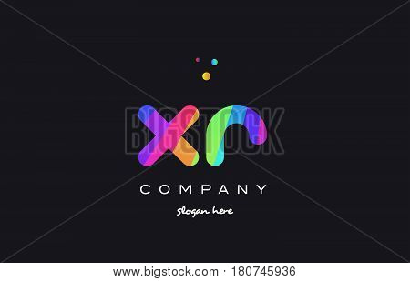 Xr X R  Colored Rainbow Creative Colors Alphabet Letter Logo Icon