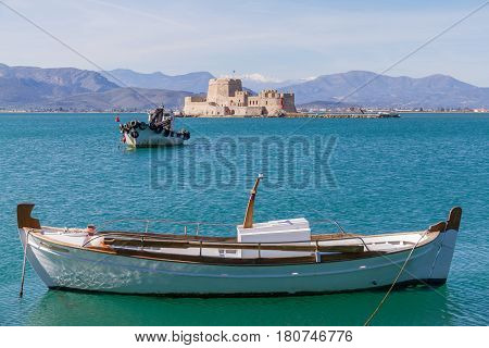 Fishing Boats And Bourtzi Fortress In Nafplion, Greece- Landscape Photo