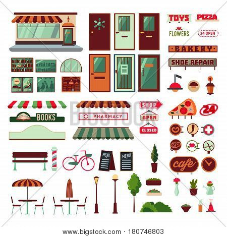 Shop facade and exterior elements set with doors showcases signboards emblems bench plants furniture products isolated vector illustration