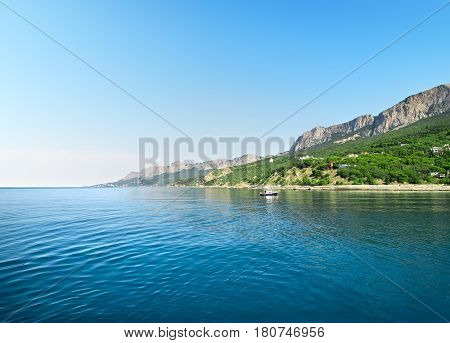 Beautyful blue bay in mountains of Kastropol