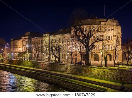Nis, Serbia - February 6, 2016: University Of Nis Building Night