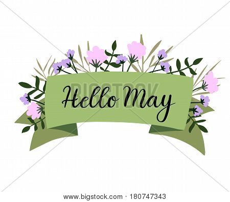 Hello May hand lettering inscription. Spring banner template, greeting card, postcard, card, invitation with ribbon. Brush calligraphy.