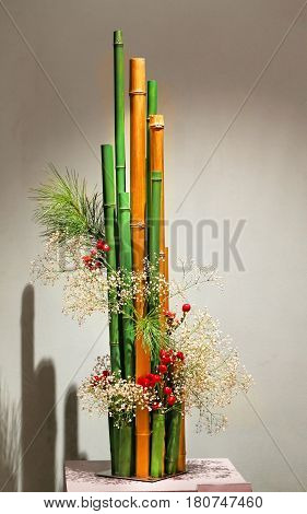 Japanese ikebana the art of beautiful plants and green bamboo