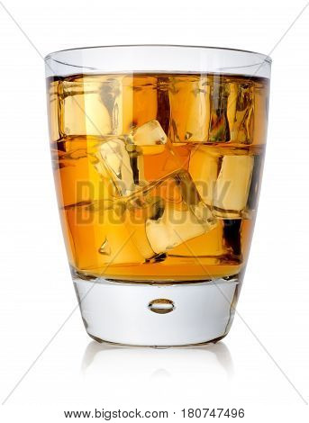 Brandy glass with brandy and ice isolated on a white background