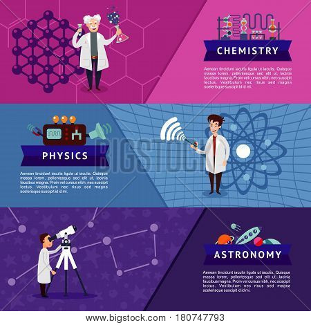 Colorful science horizontal banners with scientists and chemistry physics astronomy equipment vector illustration