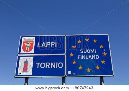 Tornio Finland - July 20 2016: The EU member state Finland national border sign at the border crossing with Sweden inTornio.