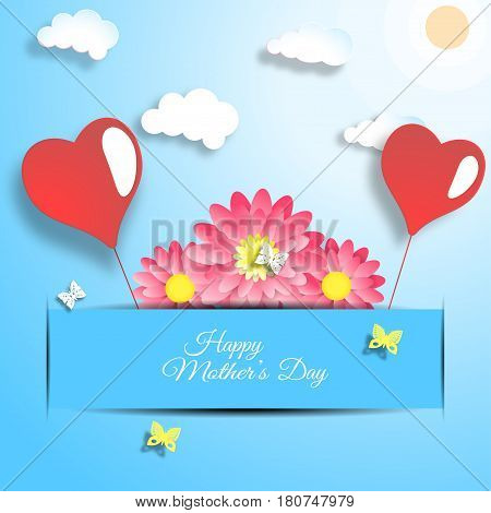 Happy Mother's Day vector paper craft on the gradient blue background with red flowers insert in the blue paper pocket heart balloons butterflies and text.