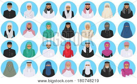 Detailed illustration of different arab people avatars icons set in the traditional national muslim arabic clothing isolated on blue background in flat style.