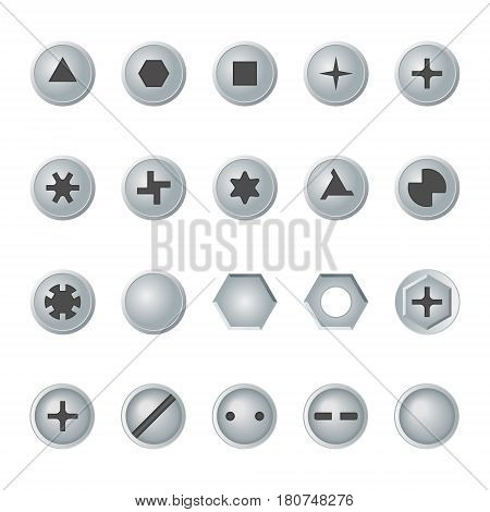 Screw and bolt heads set. Isolated vector design elements