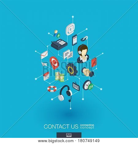 Support integrated 3d web icons. Digital network isometric interact concept. Connected graphic design dot and line system. Background for call center, help service, contact us . Vector Infograph