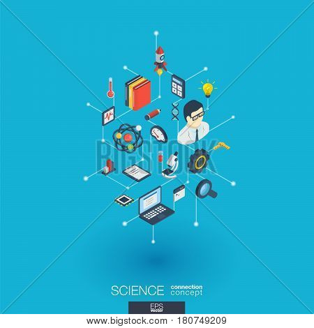 Science integrated 3d web icons. Digital network isometric interact concept. Connected graphic design dot and line system. Abstract background for laboratory research and innovation. Vector Infograph