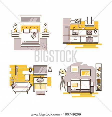 Set of interior design room. Living room, bedroom, kitchen and bathroom. Vector illustration in modern line style. Can be used for advertising or web design.