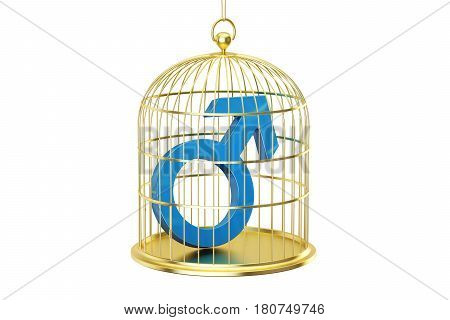 Birdcage with male gender symbol 3D rendering isolated on white background