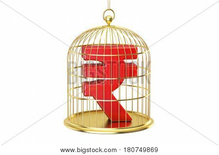 Birdcage with rupee currency symbol inside 3D rendering isolated on white background