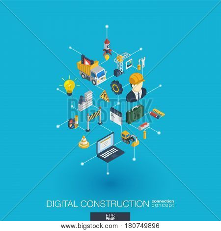 Website under construction integrated 3d web icons. Digital network isometric interact concept. Connected graphic design dot and line system. Abstract background for app development. Vector Infograph
