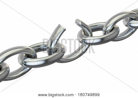 breaking chain 3D rendering isolated on white background