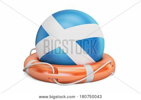 Lifebelt with Scotland flag safe help and protect concept. 3D rendering