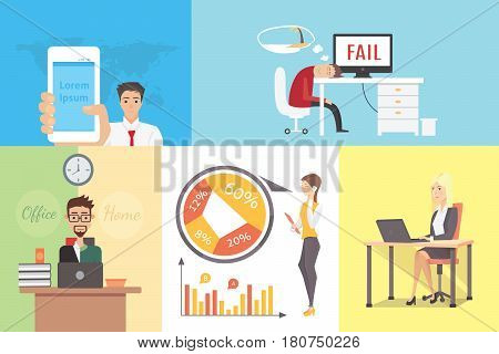 Flat Variety of business people at working place vector illustration set. Team, boss, businessman, businesswoman, secretary and clients characters. Office life business concept.