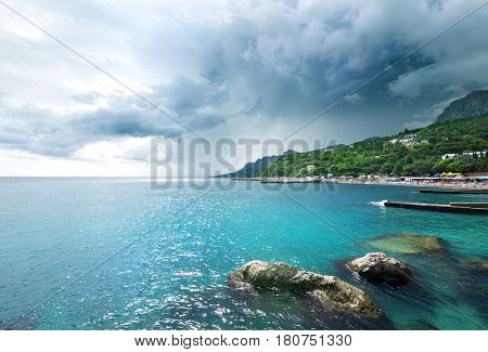 Stormy weather at the Black sea in Crimea