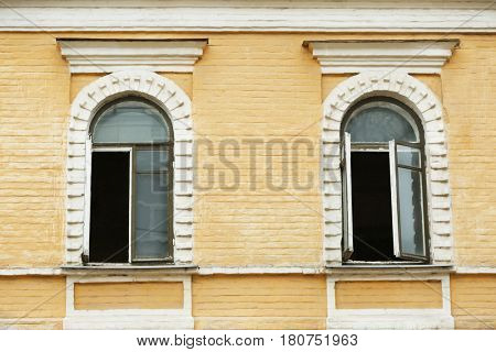 Old building with vintage arched windows