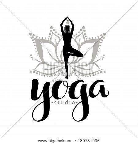 Yoga studio logo, used modern hand drawn lettering and decorative  lotuse and figure element