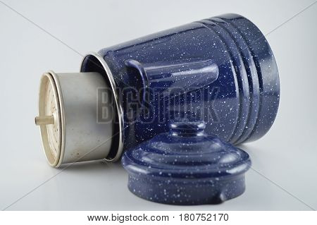 Blue granite camping coffee pot with percolator poster